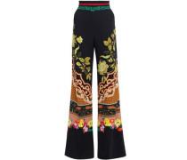 Floral-print Crepe Wide-leg Pants Multicolor