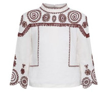 Broderie Anglaise Cotton And Ramie-blend Gauze Top White
