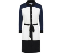 Belted two-tone stretch-silk shirt dress