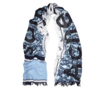 Printed modal and silk-blend gauze scarf