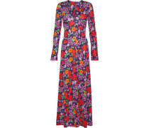 Floral-print Crepe Maxi Dress Grape