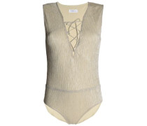 Lace-up Metallic Ribbed Stretch-jersey Bodysuit Gold