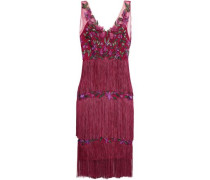 Tiered Fringed Embellished Tulle Dress Plum