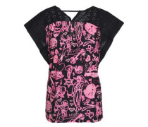 Printed broderie anglaise cotton-blend jersey T-shirt