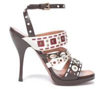 Embellished Woven Leather Sandals Dark Brown