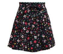 Floral-print Stretch-cotton Mini Skirt Black Size 0