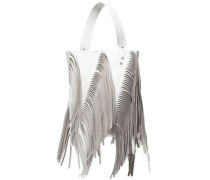 Woman Hex Medium Fringed Metallic Leather Bucket Bag White