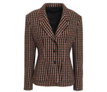 Suede-trimmed Bouclé-tweed Blazer Black