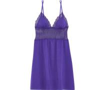 Sweet Treats Lace-paneled Cotton-blend Jersey Chemise Violet