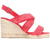 Fringed canvas espadrille wedge sandals