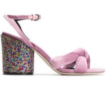 Woman Knotted Embellished Velvet Sandals Lavender