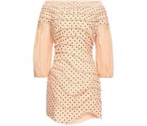 Off-the-shoulder Pompom-trimmed Polka-dot Linen Mini Dress Peach Size 1