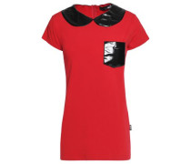 Two-tone gloss appliqued jersey top