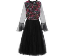 Embellished Tulle Midi Dress Black