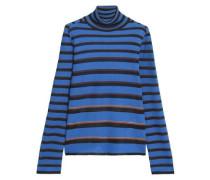 Striped Crochet-knit Turtleneck Sweater Navy