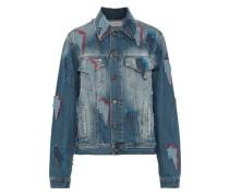 Appliquéd Distressed Printed Denim Jacket Light Blue