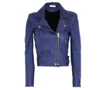 Ashville Cropped Leather Biker Jacket Blue