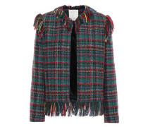 Fringe-trimmed Tweed Jacket Green