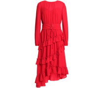 Woman Lace-up Ruffled Crepe De Chine Dress Red
