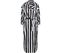 Striped Crinkled Taffeta Trench Coat Black