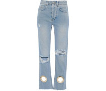Giovanna Eyelet-embellished Distressed High-rise Straight-leg Jeans Light Denim  5