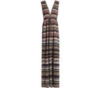 Gathered metallic jacquard-knit maxi dress
