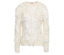 Fringe-trimmed Open-knit Cotton Sweater Ivory