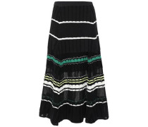 Woman Striped Fil Coupé Knitted Midi Skirt White