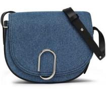 Leather-trimmed denim shoulder bag