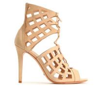 Lace-up laser-cut leather sandals