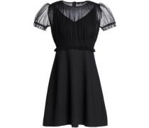 Pleated Tulle-paneled Crepe Mini Dress Black