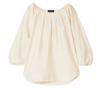 Woman Gathered Satin-crepe Blouse Ivory
