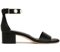 Faux pearl-studded leather sandals