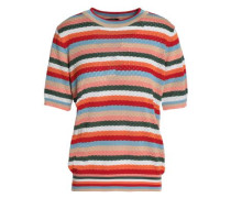 Striped pointelle-knit cotton-blend sweater