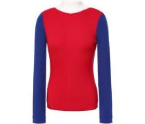 Woman Harry Color-block Ribbed Merino Wool Sweater Red