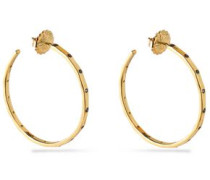 18-karat gold crystal hoop earrings