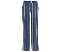 Striped Cotton-blend Flared Pants Blue