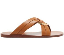 Woman Rony Embellished Leather Slides Light Brown