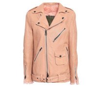 Shearling-lined Textured-leather Biker Jacket Blush