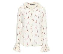 Ruffle-trimmed Printed Silk Crepe De Chine Shirt Ecru