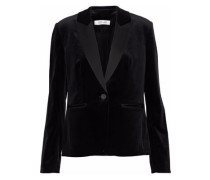 Satin-trimmed cotton-blend velvet blazer