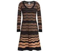 Pleated jacquard-knit mini dress