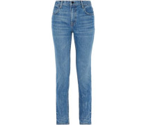Faded High-rise Slim-leg Jeans Mid Denim  4