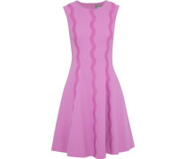 Crochet-appliquéd Stretch-wool Crepe Dress Lavender Size 12