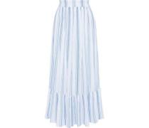 Woman Serifos Gathered Striped Cotton-gauze Maxi Skirt Light Blue