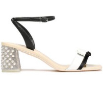 Bow-detailed Patent-leather Sandals Black