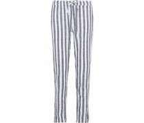 Ella Striped Linen And Cotton-blend Straight-leg Pants Navy
