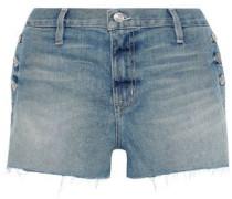 The Skiff Button-detailed Faded Denim Shorts Mid Denim  3