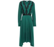 Woman Asymmetric Lace-trimmed Silk-satin Midi Dress Emerald