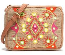 Embroidered canvas shoulder bag